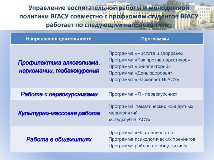 Управление воспитательной работы и молодежной политики ВГАСУ совместно с профкомом студентов ВГАСУ работает по следующим направлениям: