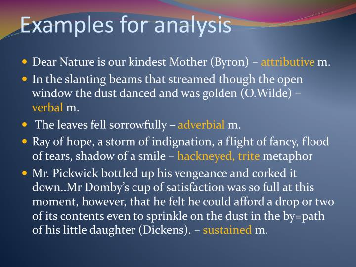 Examples for analysis