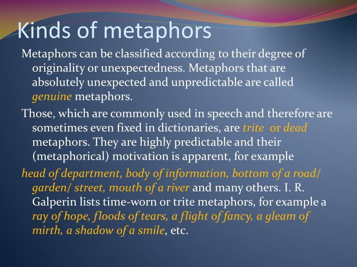 Kinds of metaphors