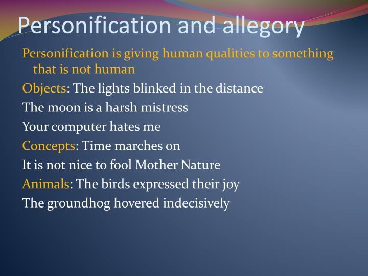 Personification and allegory