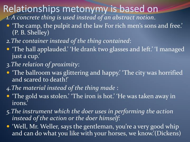 Relationships metonymy is based on