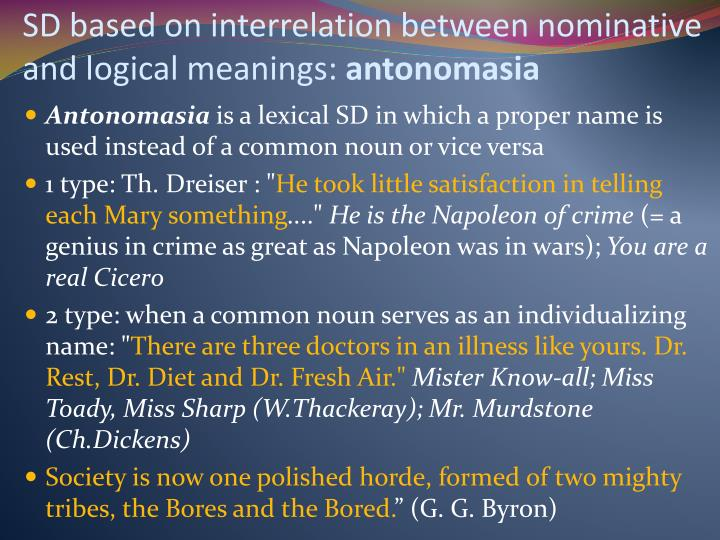 SD based on interrelation between nominative and logical meanings:
