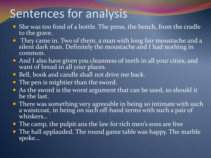 Sentences for analysis