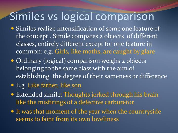 Similes vs logical comparison