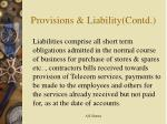 provisions liability contd