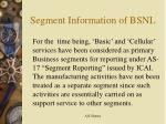 segment information of bsnl