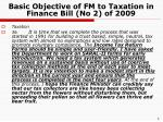 basic objective of fm to taxation in finance bill no 2 of 2009