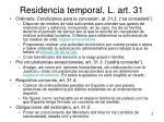 residencia temporal l art 31