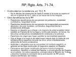 rp rgto arts 71 74