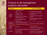 finance risk management products risk profile