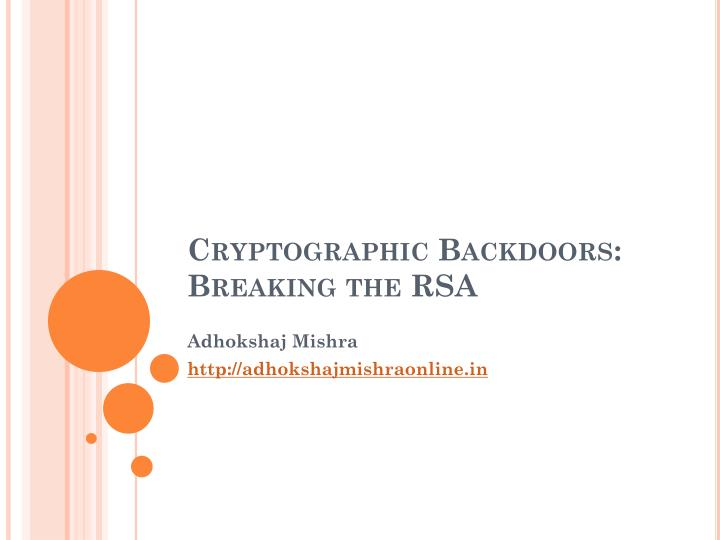 cryptographic backdoors breaking the rsa n.