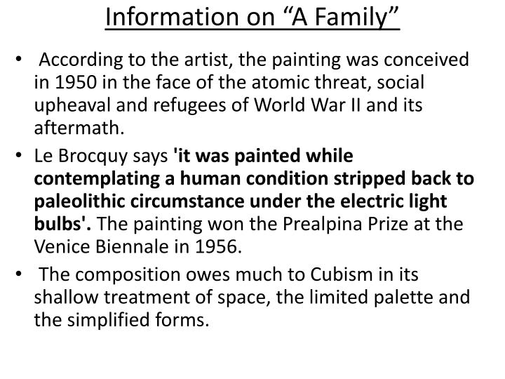 """Information on """"A Family"""""""
