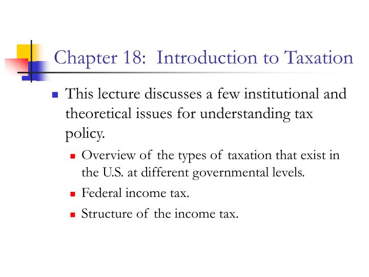 chapter 18 introduction to taxation n.