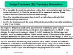 design procedure transistor dimensions