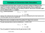 examples of conversion gain calculation