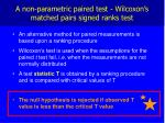a non parametric paired test wilcoxon s matched pairs signed ranks test