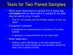 tests for two paired samples