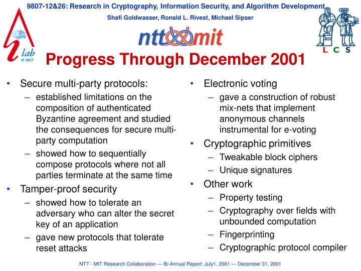Progress through december 2001