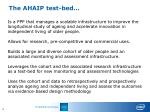 the ahaip test bed