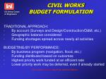 civil works budget formulation