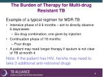 the burden of therapy for multi drug resistant tb