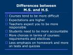 differences between m s and h s