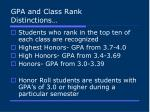 gpa and class rank distinctions