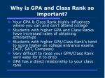 why is gpa and class rank so important