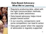 data based advocacy what we re learning