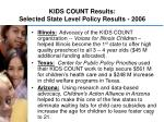 kids count results selected state level policy results 2006