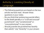 activity 7 looking closely at language