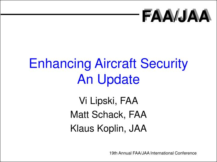 enhancing aircraft security an update n.