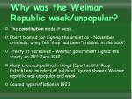 why was the weimar republic weak unpopular