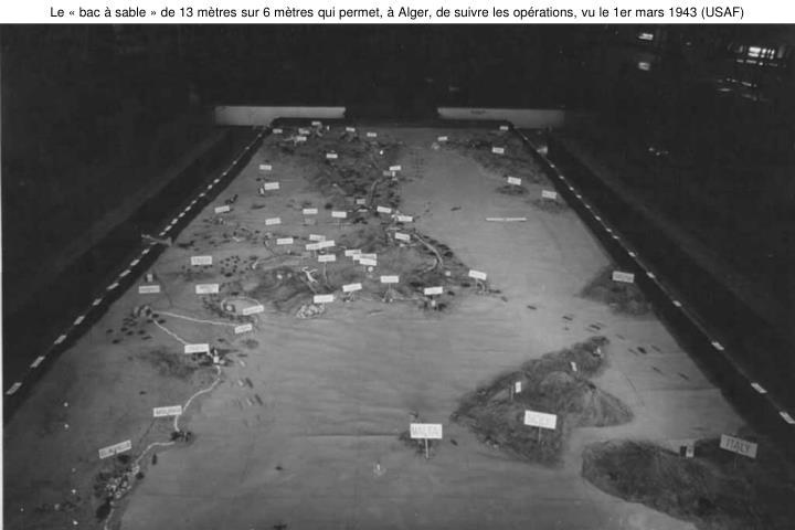 Le «bac à sable» de 13 mètres sur 6 mètres qui permet, à Alger, de suivre les opérations, vu le 1er mars 1943 (USAF)