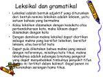 leksikal dan gramatikal