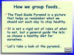 how we group foods