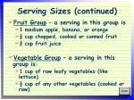 serving sizes continued