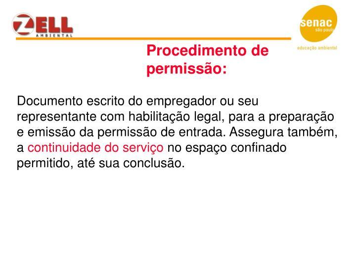 Procedimento de permissão:
