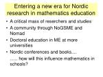 entering a new era for nordic research in mathematics education