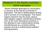 research in the nordic countries some examples