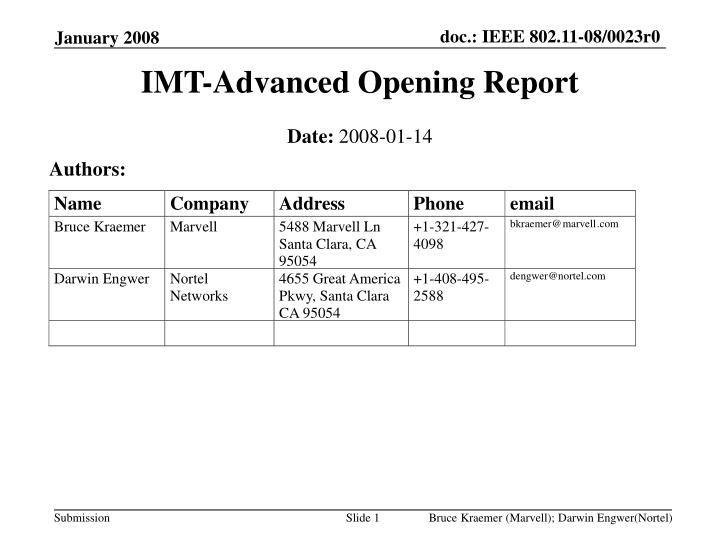 imt advanced opening report n.