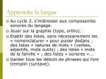 apprendre la langue
