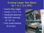 existing larger test stand for 1 m x 3 m rpc