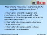 what are the relations of evitherm with the suppliers and manufacturers