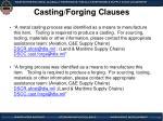 casting forging clauses