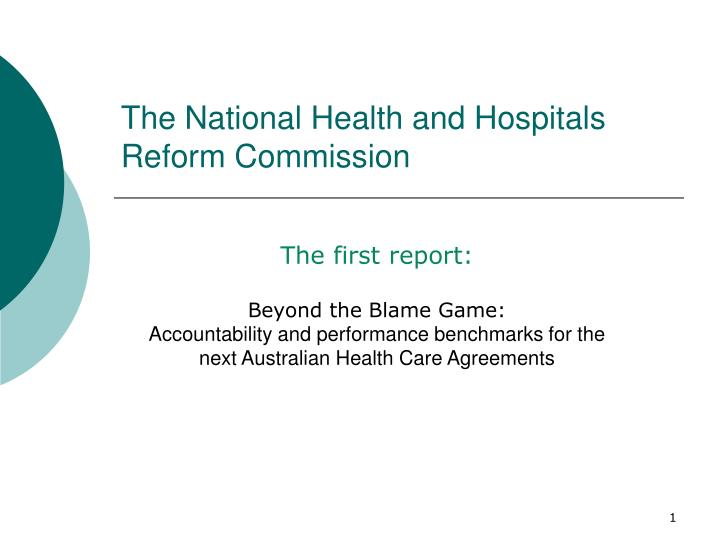 the national health and hospitals reform commission n.