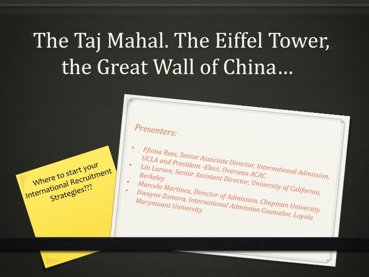 the taj mahal the eiffel tower the great wall of china n.