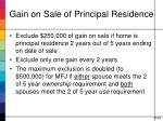 gain on sale of principal residence