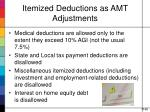 itemized deductions as amt adjustments