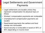 legal settlements and government payments